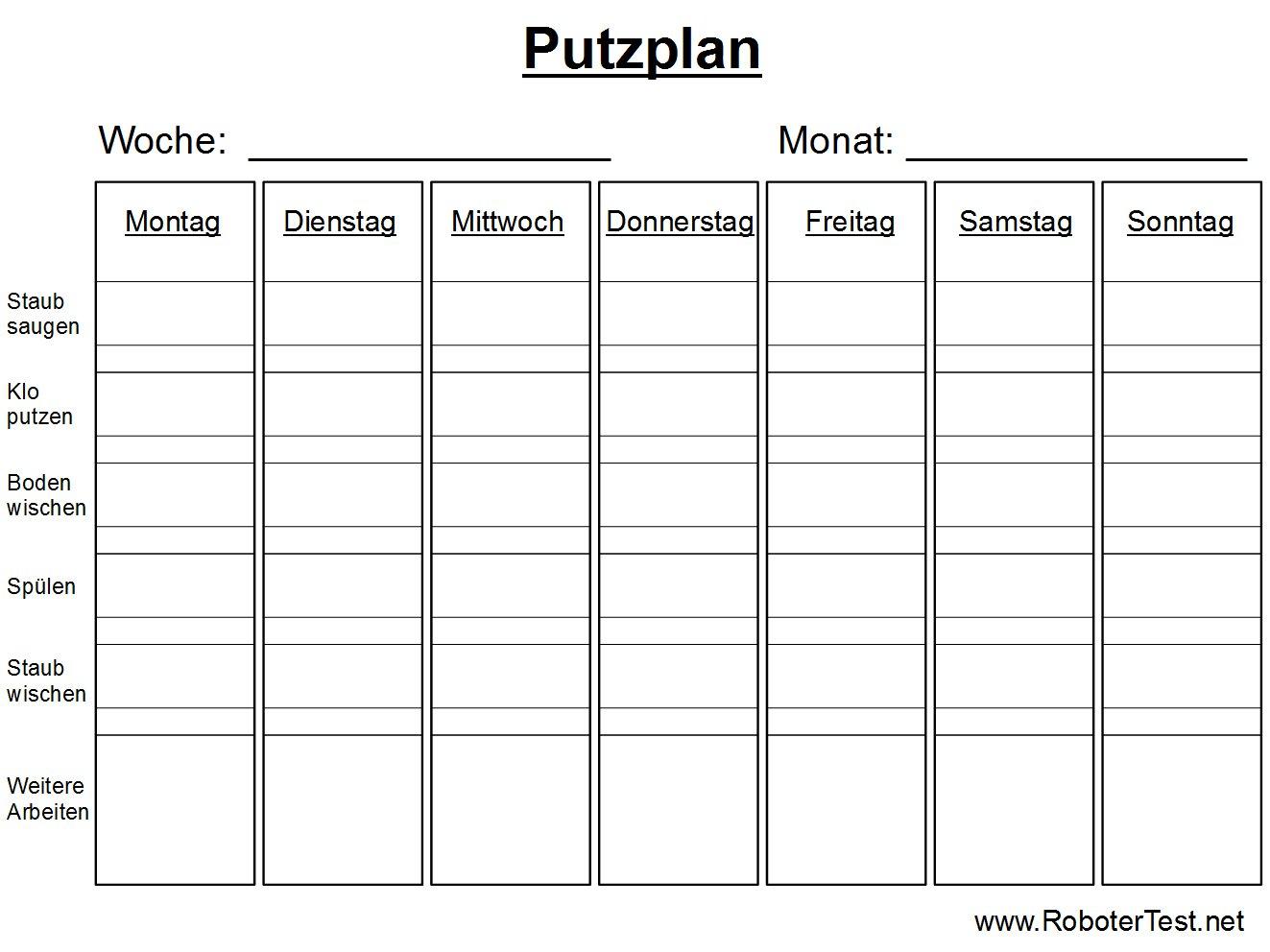 Putzplan Putzplan Deutsch Putzplan Vorlage