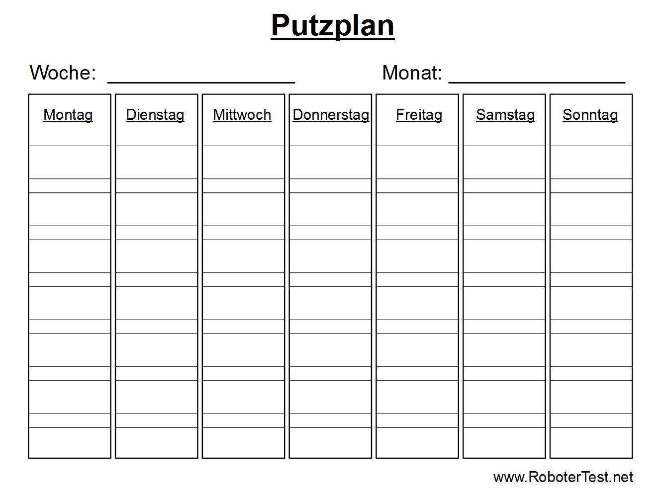 Putzplan Vorlage zum Ausdrucken   Robotertest.net